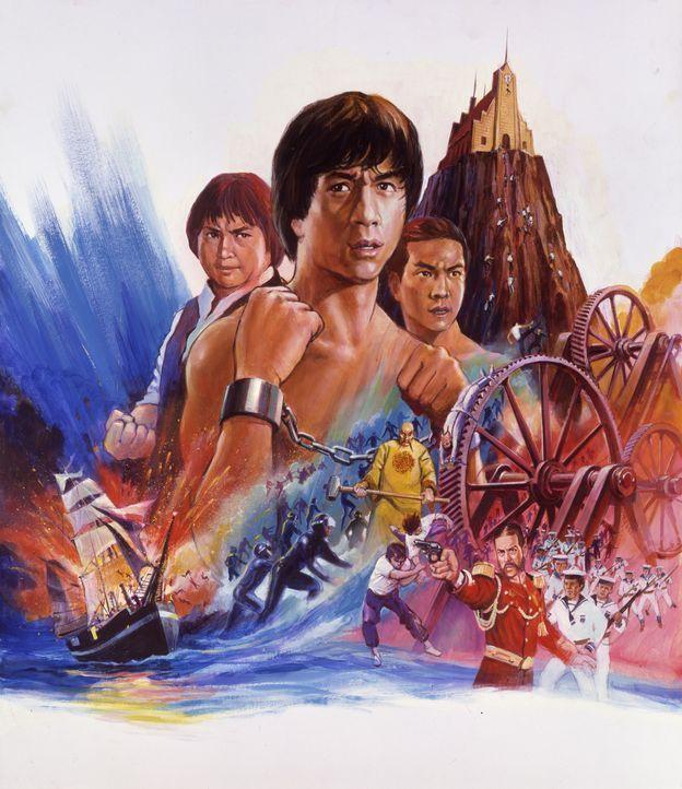 Der Superfighter (Jackie Chan, M.) und seine Mitstreiter Fei (Sammo Hung Kam-Bo, l.) und Captain Chi (Yuen Biao, l.) ... - Bildquelle: Splendid