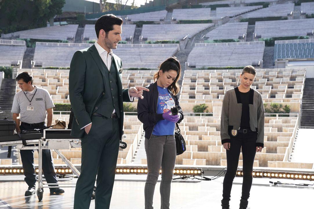 (v.l.n.r.) Lucifer (Tom Ellis); Ella (Aimee Garcia); Chloe (Lauren German) - Bildquelle: Erik Voake 2017 Fox Broadcasting Co. / Erik Voake