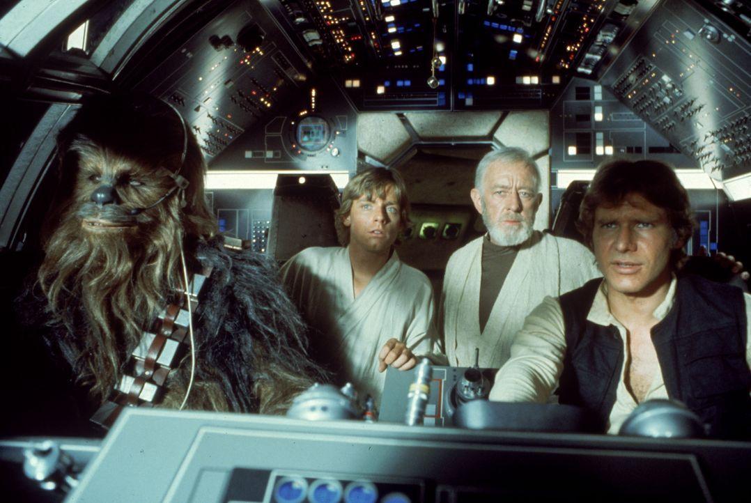 Gigantische Aufgabe: Chewbacca (Peter Mayhew, l.), Luke (Mark Hamill, 2.v.l.), Obi-Wan (Alec Guinness, 2.v.r.) und Han Solo (Harrison Ford, r.) vers... - Bildquelle: 1997 Lucasfilm Ltd. All rights reserved.