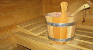 Eimer für den Aufguss in einer Sauna