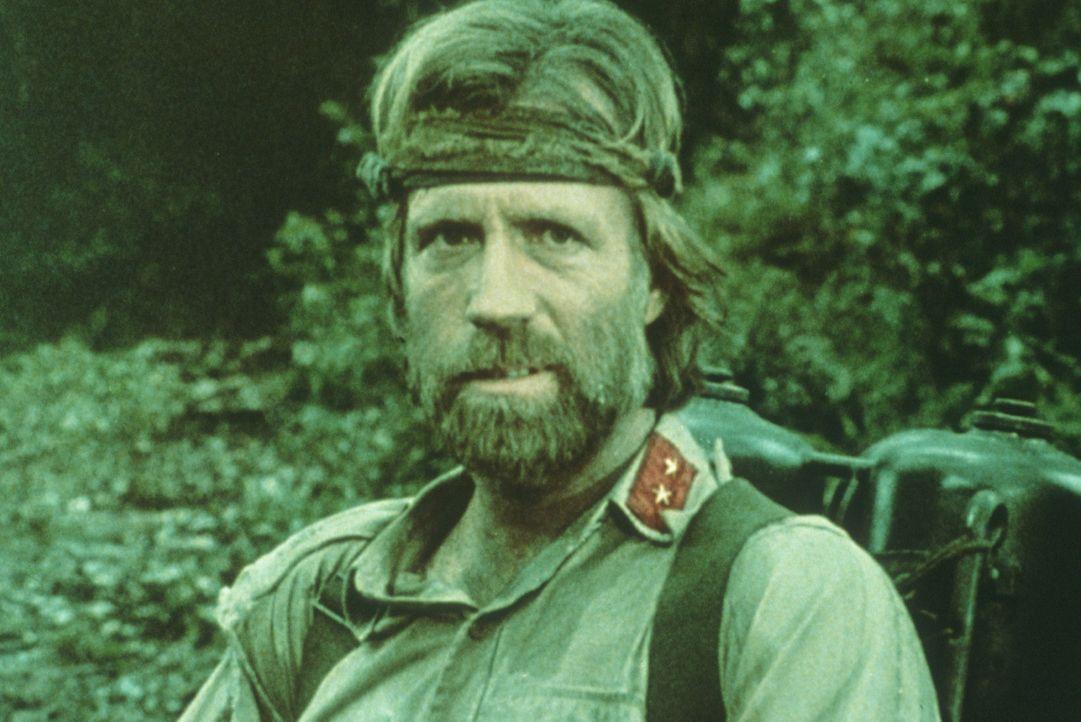 Braddock (Chuck Norris) versteckt sich in der Nähe des Gefangenenlagers, um später einzubrechen und Waffen zu stehlen ... - Bildquelle: Cannon Films