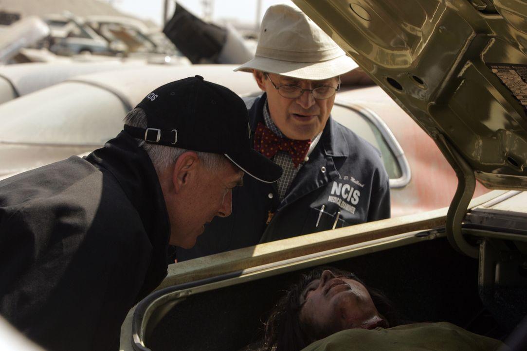 Gibbs (Mark Harmon, l.) und Ducky (David McCallum, r.) finden in einen Kofferraum, die verschwundene Catherine Roberts ... - Bildquelle: TM &   2006 CBS Studios Inc. All Rights Reserved.