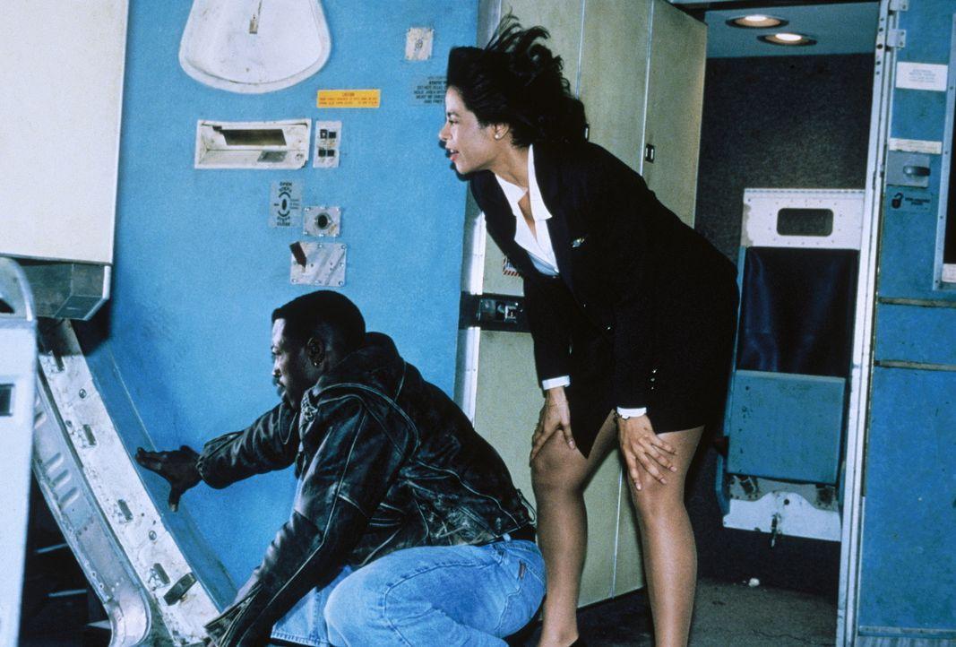 Für die hilflosen Insassen des entführten Flugzeugs wird der skrupellose Killer zum Alptraum. Da starten John Cutter (Wesley Snipes, l.) und Steward... - Bildquelle: Warner Bros.
