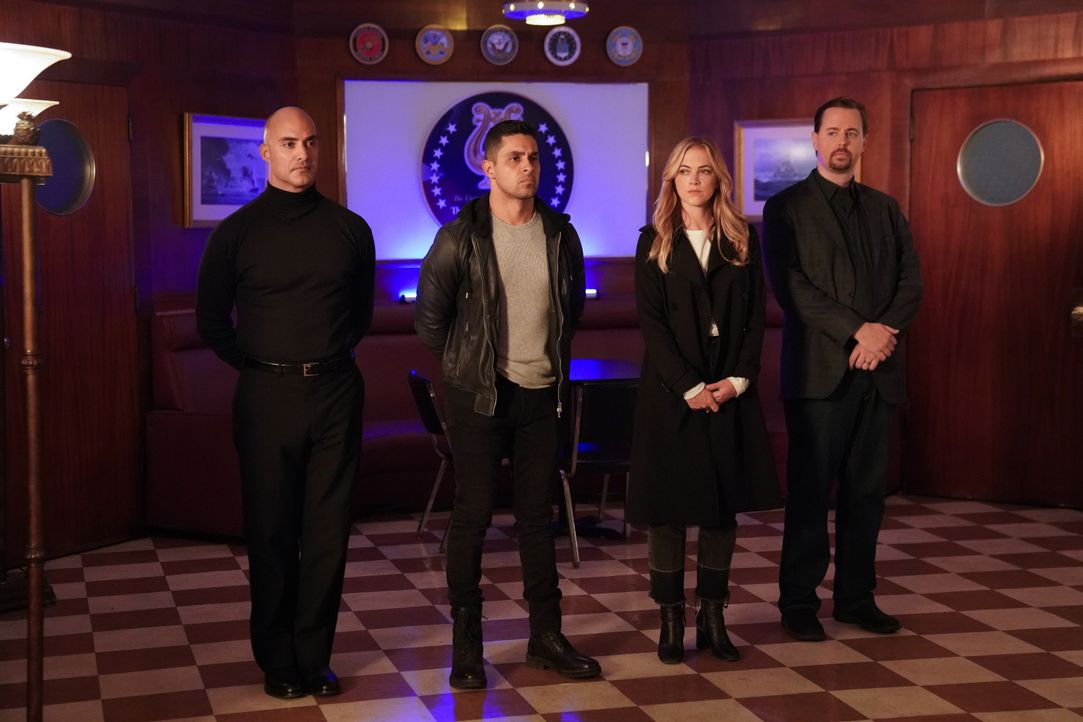 (v.l.n.r.) Neil Farzad (Eyas Younis); Nick Torres (Wilmer Valderrama); Ellie Bishop (Emily Wickersham); Timothy McGee (Sean Murray) - Bildquelle: Greg Gayne 2019 CBS Broadcasting, Inc. All Rights Reserved. / Greg Gayne