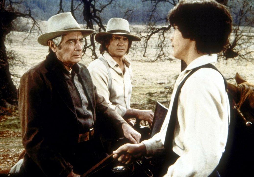 Albert Ingalls (Matthew Laborteaux, r.) belügt seinen Vater Charles (Michael Landon, M.) und Mr. Hector Webb (Royal Dano, l.), indem er behauptet,... - Bildquelle: Worldvision