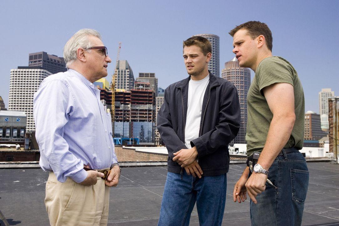 Regieanweisungen: Martin Scorsese (l.), Matt Damon (r.) und Leonardo DiCaprio (M.) ... - Bildquelle: Warner Bros. Entertainment Inc