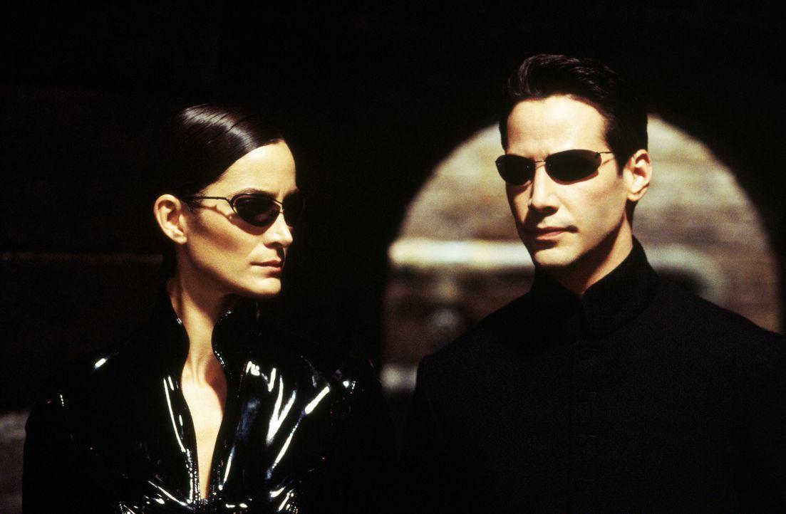 Zusammen mit Morpheus entscheiden sich Neo (Keanu Reeves, r.) und Trinity (Carrie-Anne Moss, l.) in die Matrix zurückzukehren, um die drohende Verni... - Bildquelle: Warner Bros.