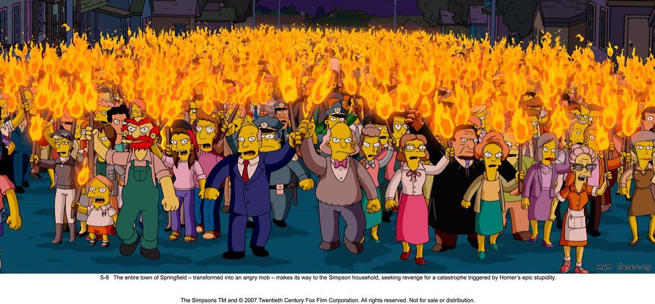 Die Bewohner von Springfield sind außer sich vor Wut und begeben sich zum Haus der Simpsons, um Homer für all seine Chaos auslösenden Taten zu bestr... - Bildquelle: 2007 Twentieth Century Fox Film Corporation