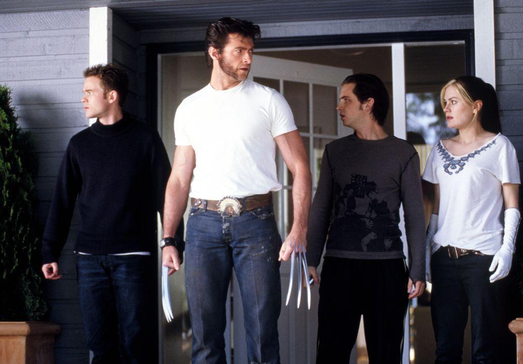 Bobby (Shawn Ashmore, l.), Logan (Hugh Jackman, 2.v.l.), John (Aaron Stanford, 2.v.r.) und Marie (Anna Paqiun, r.) machen sich auf die Suche nach St... - Bildquelle: 20th Century Fox International Television