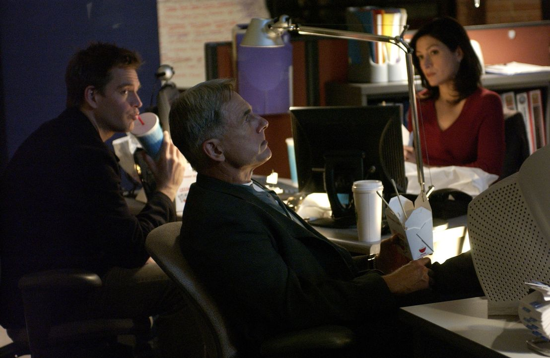 Tony (Michael Weatherly, l.), Gibbs (Mark Harmon, M.) und Kate (Sasha Alexander, r.) sind der Wahrheit auf der Spur ... - Bildquelle: CBS Television