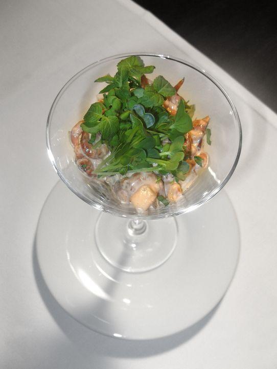 Vorspeise: Krabbencocktail aus frischen Nordseekrabben mit Champion- Pfirsich Dressing und Chizokresse ... - Bildquelle: kabel eins
