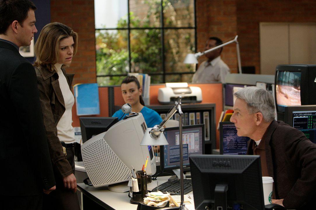 Gemeinsam arbeiten sie an einem Fall: Tony (Michael Weatherly, l.), Ziva (Cote de Pablo, M.), Gibbs (Mark Harmon, r.) und Det. Andrea Sparr (Gretche... - Bildquelle: CBS Television