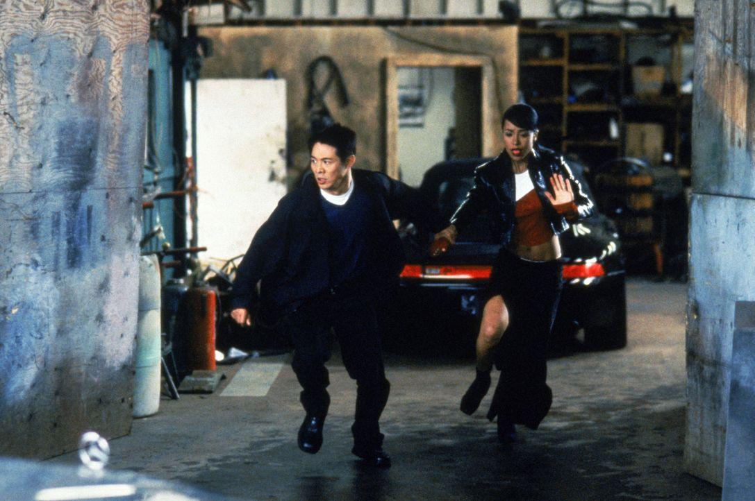 Obwohl ihre Familien verfeindet sind, bilden Han (Jet Li, l.) und Trish (Aaliyah, r.) ein Team - ein unschlagbares Team ... - Bildquelle: Warner Bros. Pictures