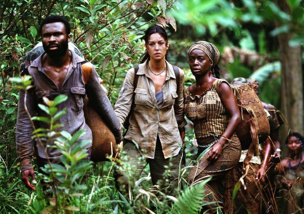 Die Missionsstation wird überfallen: Lena Kendricks (Monica Bellucci, M.) ... - Bildquelle: 2004 Sony Pictures Television International. All Rights Reserved.