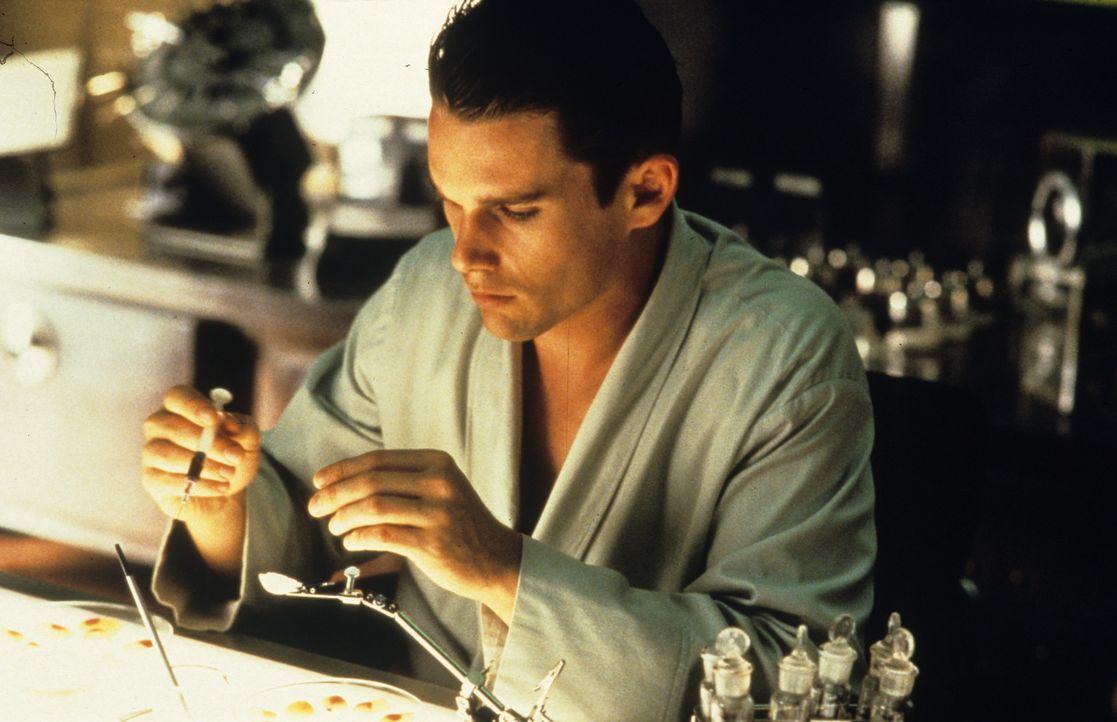 Um die Gattaca-Corporation überlisten zu können, muss Vincent Beutelchen mit Urin, Blut, Hautschuppen und Haaren von Jerome (Jude Law) anfertigen... - Bildquelle: Columbia Pictures