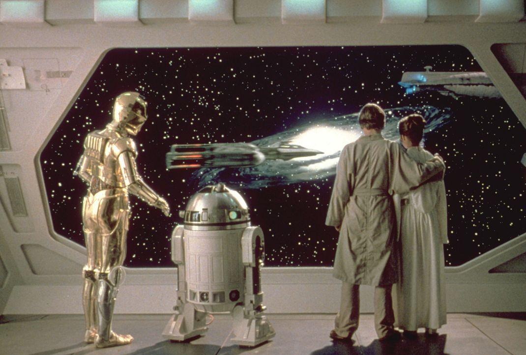 Im Kampf gegen das Imperium: (v.l.n.r.) C-3PO (Anthony Daniels), R2-D2 (Kenny Baker), Luke (Mark Hamill) und Prinzessin Leia (Carrie Fisher) ... - Bildquelle: TM & © 2015 Lucasfilm Ltd. All rights reserved. Used under authorization.