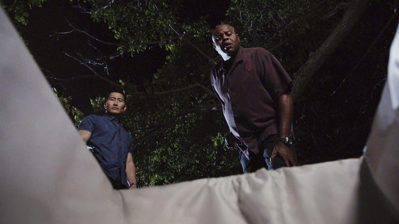Für Lou (Chi McBride, r.) und Chin Ho (Daniel Dae Kim, l.) bringt die Halloweennacht einige gruselige Überraschungen mit sich ... - Bildquelle: Norman Shapiro 2016 CBS Broadcasting, Inc. All Rights Reserved / Norman Shapiro