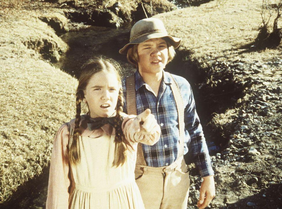 Laura (Melissa Gilbert, l.) und Carl (Brian Part, r.) entdecken eine verlassene Goldgräbersiedlung. - Bildquelle: Worldvision