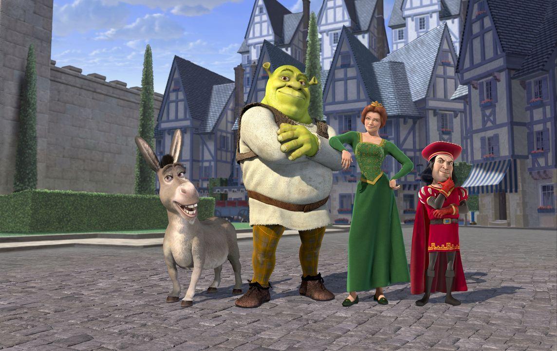 Prinzessin Fiona (2.v.r.) soll von Shrek (2.v.l.) und dem sprechenden Esel (l.) gegen ihren Willen zu Lord Farquaad (r.) gebracht werden - der hat n... - Bildquelle: TM &   2001 DreamWorks L.L.C.