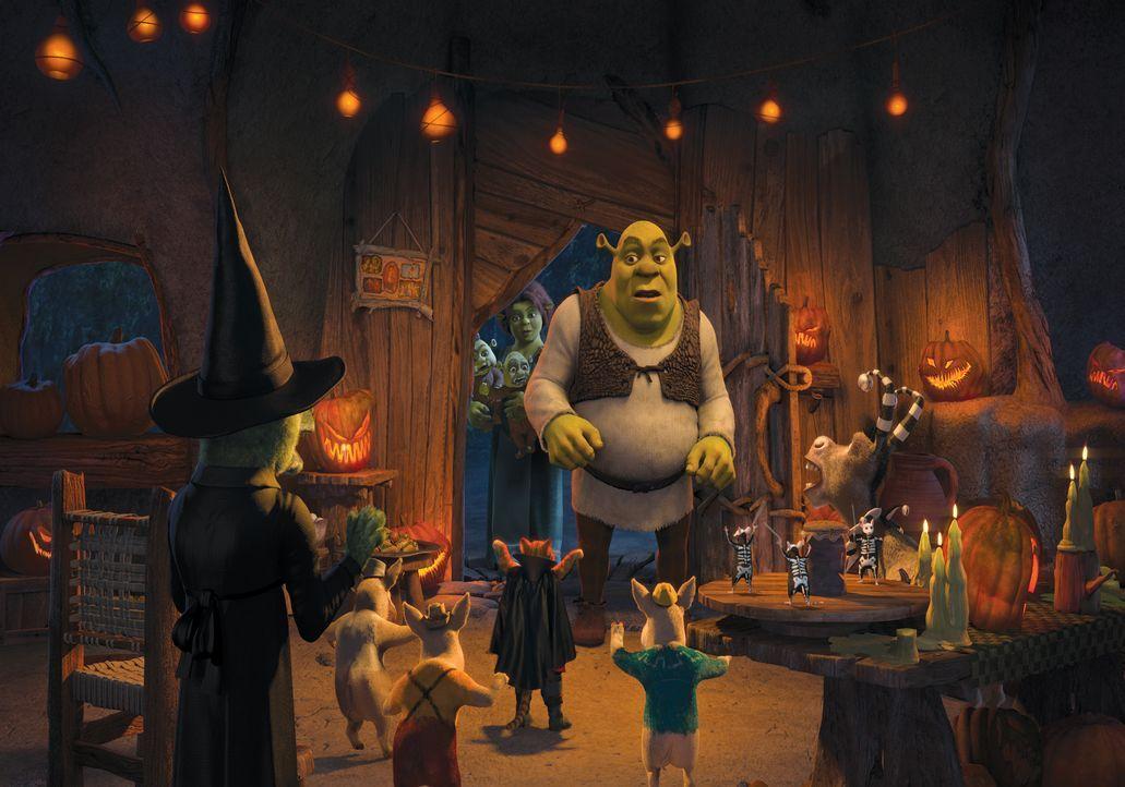 Shrek (M.) und seine Freunde treten gegenseitig zu einem Gruselgeschichten-Wettbewerb an. Doch wer wird den Titel als König von Halloween bekommen? - Bildquelle: 2010 DreamWorks Animation LLC. All Rights Reserved.
