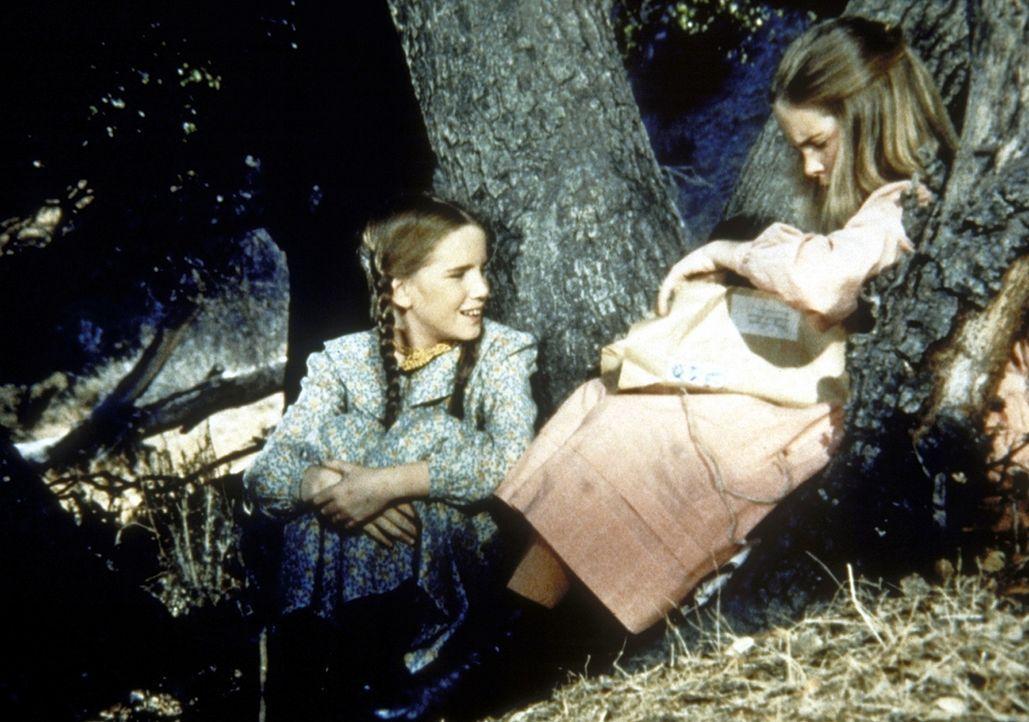 Laura (Melissa Gilbert, l.) und Mary (Melissa Sue Anderson, r.) sitzen im Wald und denken nach. - Bildquelle: Worldvision