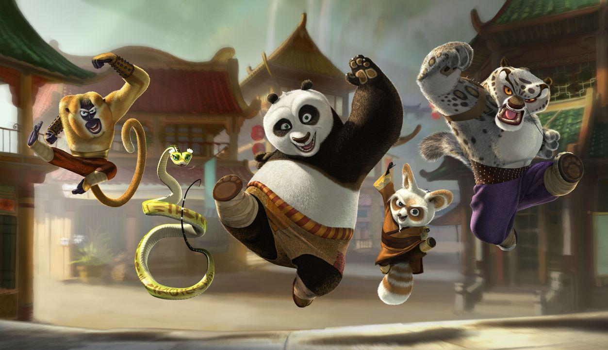 Unerwartet wird er ausgewählt, um eine alte Prophezeiung zu erfüllen. Doch dafür muss der große Panda Po (M.) eine alte Kampfkunst erlernen. Mit von... - Bildquelle: Paramount Pictures
