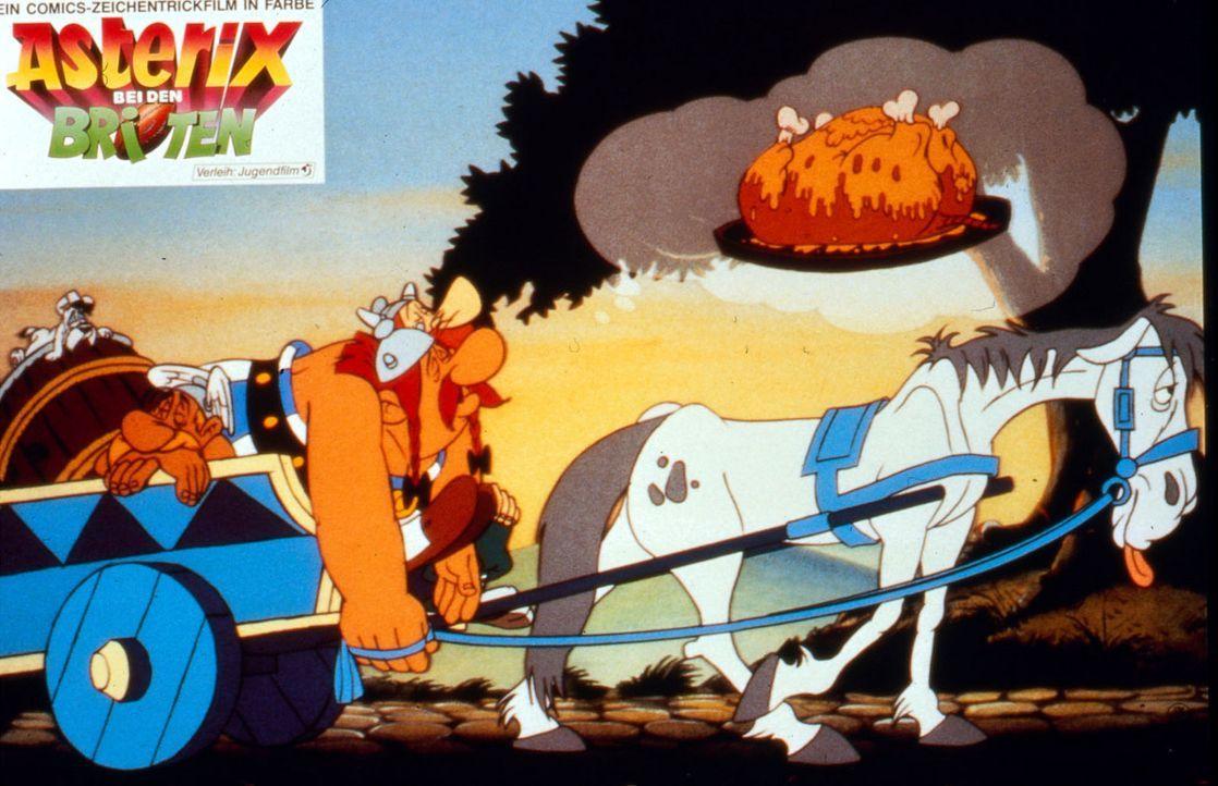 Alarmiert von seinem Vetter Teefax macht sich Asterix (l.) zusammen mit Obelix (r.) auf den Weg nach Britannien. Doch der Weg ist weit und Obelix se... - Bildquelle: Jugendfilm-Verleih GmbH