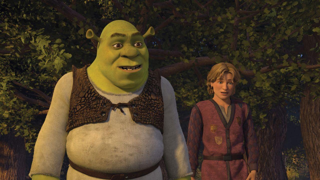 Shrek (l.) greift zum Notfallplan. Prinz Artie (r.) ist seine letzte Hoffnung, um sein geruhsames Leben beibehalten zu können. Doch der junge Mann h... - Bildquelle: TM &   2007 Dreamworks Animation LLC