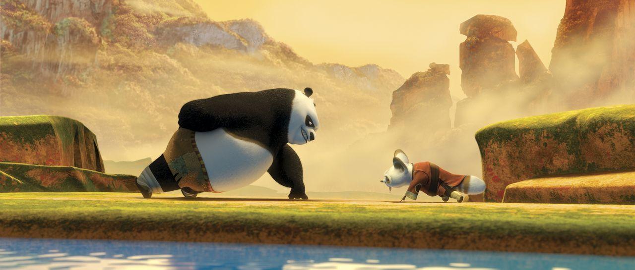 Meister Shifu (r.) muss sich einiges einfallen lassen, um seinen Schützling Po zum Training zu bewegen. Doch schon bald hat Po (l.) nur ein Ziel vor... - Bildquelle: Paramount Pictures