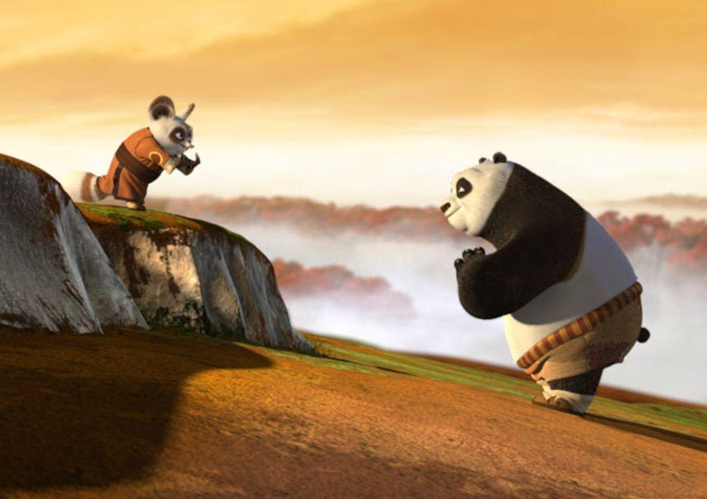 Meister Shifu (l.) versucht dem dicken Pandabären Po (r.) die alte Kunst des Kung Fu-Kampfes beizubringen, doch der Bär stellt sich anfangs viel zu... - Bildquelle: Paramount Pictures