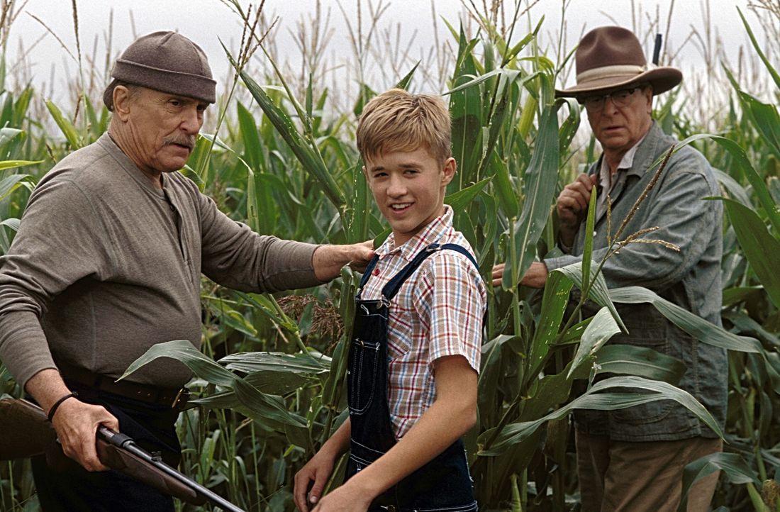 Walter (Haley Joel Osment, M.) macht sich daran, das Geheimnis von Hub (Robert Duvall, l.) und Gath (Michael Caine, r.) zu lösen ... - Bildquelle: New Line Cinema