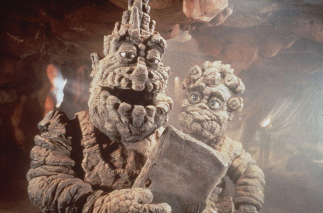 Der Felsenbeißer kümmert sich rührend um seinen Nachwuchs den Felsenbeißer Junior ... - Bildquelle: Warner Bros.
