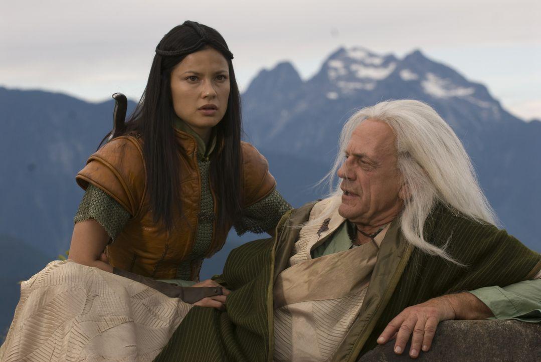 In letzter Sekunde kann Perfidia (Natassia Malthe, l.), ihren Großvater, den Zauberer Tesselink (Christopher Lloyd, r.), vor einem Handlanger Drago... - Bildquelle: 2008 Dragonsteel Films Inc.