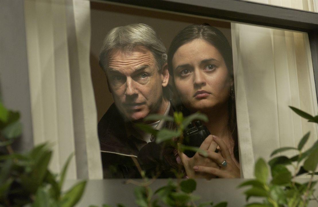 Gibbs (Mark Harmon, l.) versucht von Erin (Danica McKellar, r.) mehr Informationen zu dem Mord zu bekommen, den sie angeblich beobachtet hat ... - Bildquelle: CBS Television
