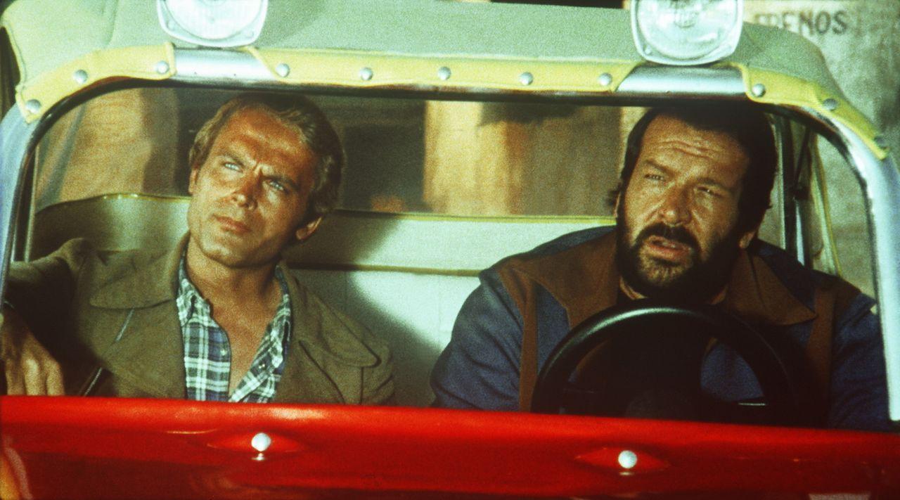 Die beiden schlagkräftigen Haudegen Kid (Terence Hill, l.) und Ben (Bud Spencer, r.) sind und bleiben zwei unzertrennliche Freunde. Bei einem Autor... - Bildquelle: Columbia Pictures