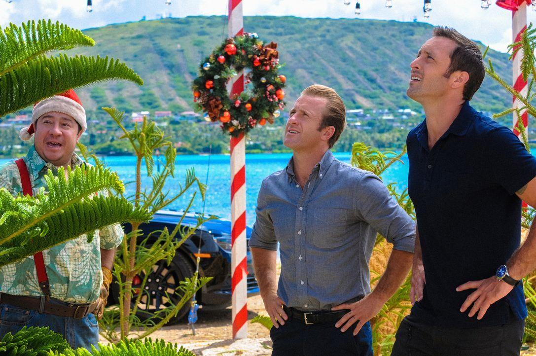 Während Steve (Alex O'Loughlin, r.) und Danny (Scott Caan, M.) nicht fassen können, was der Verkäufer (Greg Wilson, l.) für einen Weihnachtsbaum hab... - Bildquelle: 2014 CBS Broadcasting Inc. All Rights Reserved.