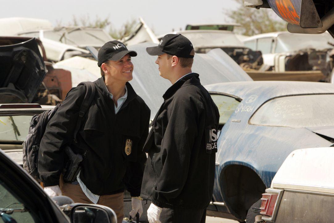 Tony (Michael Weatherly, l.) und McGee (Sean Murray, r.) sind auf der Suche nach der vermeintlich Ermordeten Jamie Carr ... - Bildquelle: TM &   2006 CBS Studios Inc. All Rights Reserved.