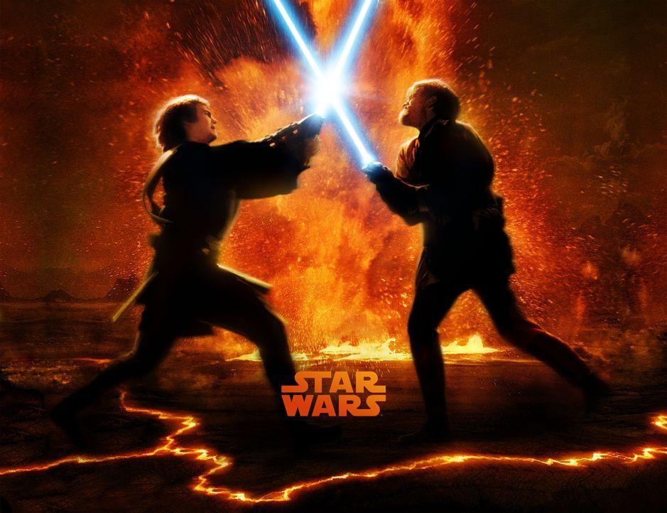 STAR WARS: EPISODE III - DIE RACHE DER SITH - Plakatmotiv: Zwischen Obi-Wan Kenobi (Ewan McGregor, r.) und seinem ehemaligen Schüler Anakin Skywalke... - Bildquelle: Lucasfilm Ltd. & TM. All Rights Reserved.