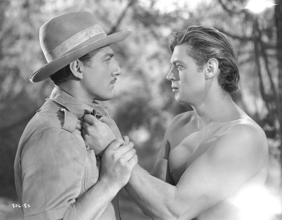 Captain Fry (John Buckler, r.); Tarzan (Johnny Weissmuller, r.) - Bildquelle: 1936 Warner Bros. Entertainment Inc. All Rights Reserved.