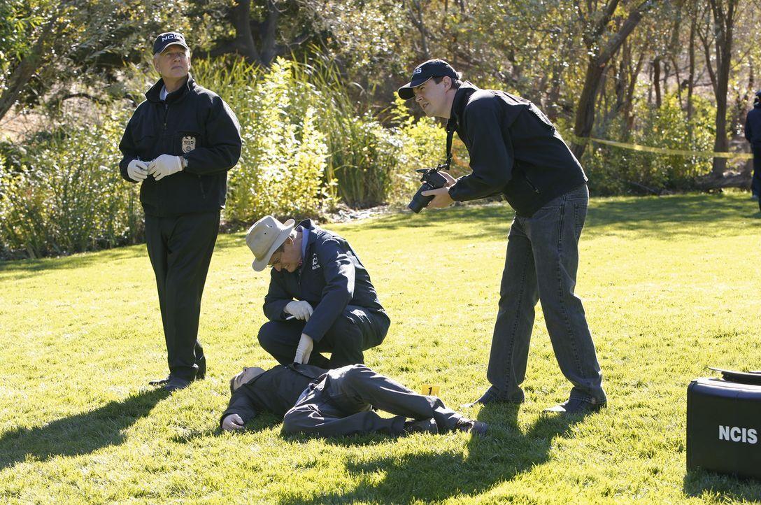 Das Navy-CIS Team um Gibbs (Mark Harmon, l.), Dr. Mallard (David McCallum, M.) und McGee (Sean Murray, r.) scheint keine andere Wahl zu haben. Sie m... - Bildquelle: CBS Television