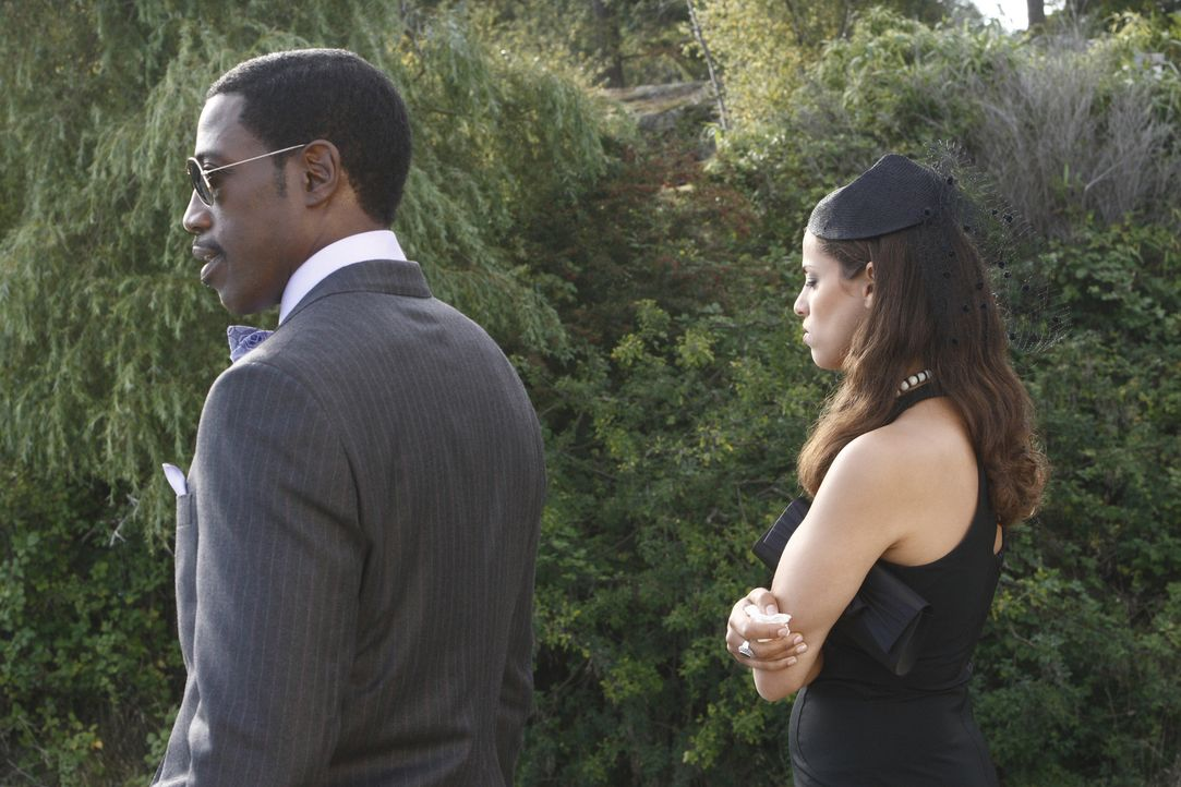 Ex-Agent Neil Shaw (Wesley Snipes, l.) und Melina Cruz (Athena Karkanis, r.) nehmen Abschied von ihrem Mentor ... - Bildquelle: 2008 Operation Eagle Productions Inc. All Rights Reserved.