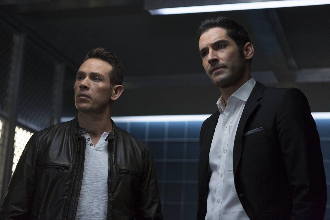 Nachdem mehrere Ex-Geliebte von Lucifer (Tom Ellis, r.) ermordet werden, beginnen Dan (Kevin Alejandro, l.) und seine Kollegen mit den Ermittlungen.... - Bildquelle: 2016 Warner Brothers