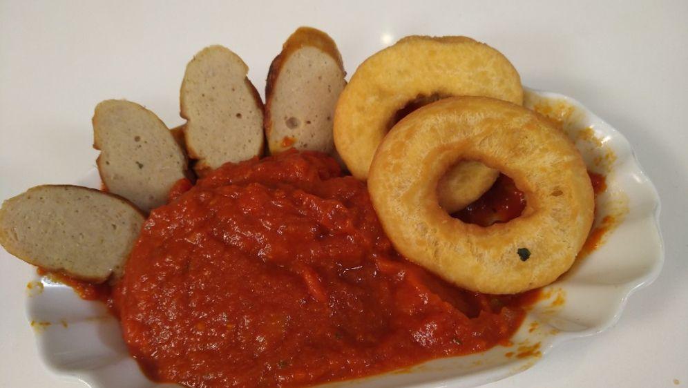 Kartoffel Donut Mit Currywurst
