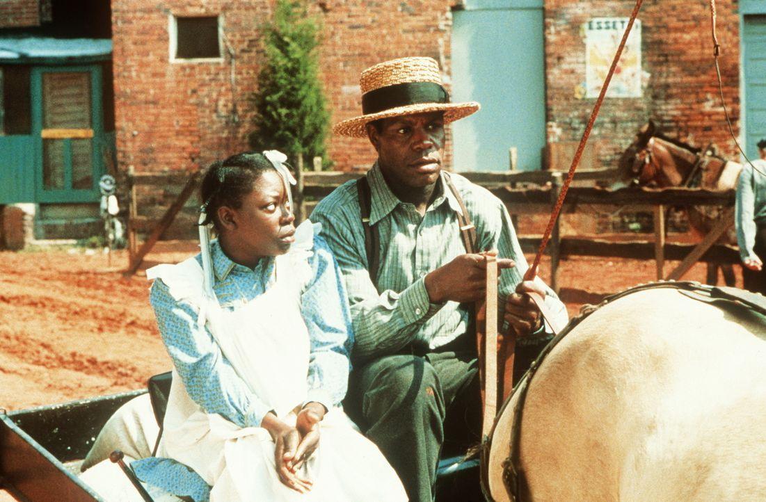 Die erst 14-jährige Celie (Desreta Jackson, l.) wird mit dem Witwer Pa (Leonard Jackson, r.) verheiratet, der eine Frau sucht, die das Haus sauber h... - Bildquelle: Warner Bros.