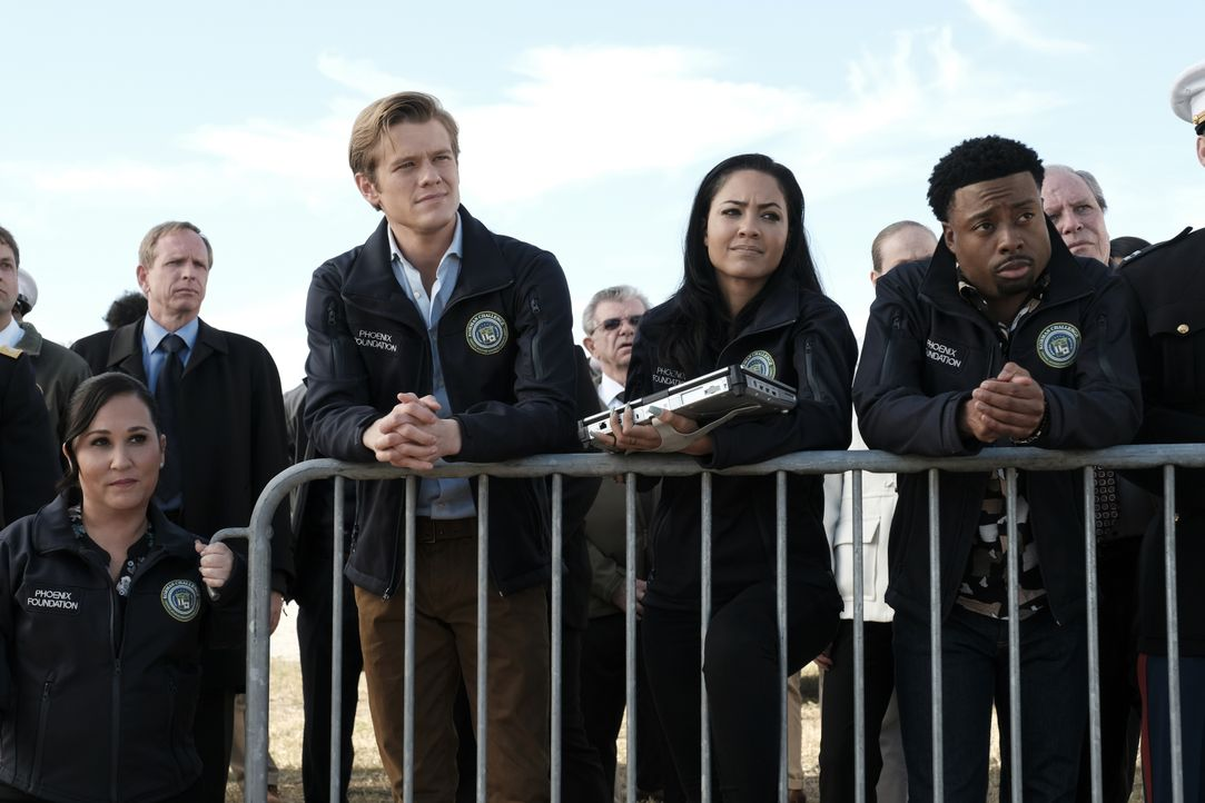 (v.l.n.r.) Matty Webber (Meredith Eaton); Angus MacGyver (Lucas Till); Riley Davis (Tristin Mays); Wilt Bozer (Justin Hires) - Bildquelle: Guy D'Alema CBS © 2017 CBS Broadcasting, Inc. All Rights Reserved. / Guy D'Alema