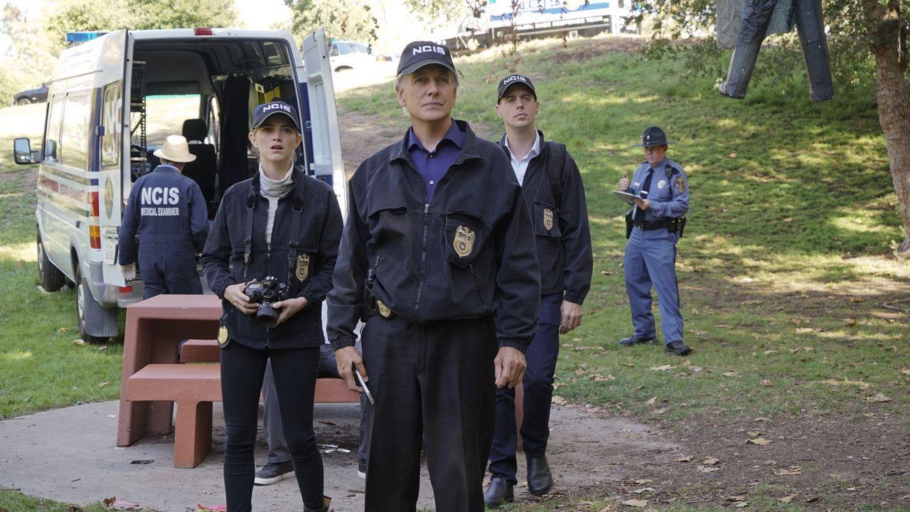 Ein neuer Mordfall wartet auf Gibbs (Mark Harmon, M.), Bishop (Emily Wickersham, l.) und McGee (Sean Murray, r.) ... - Bildquelle: Monty Brinton CBS Television / Monty Brinton