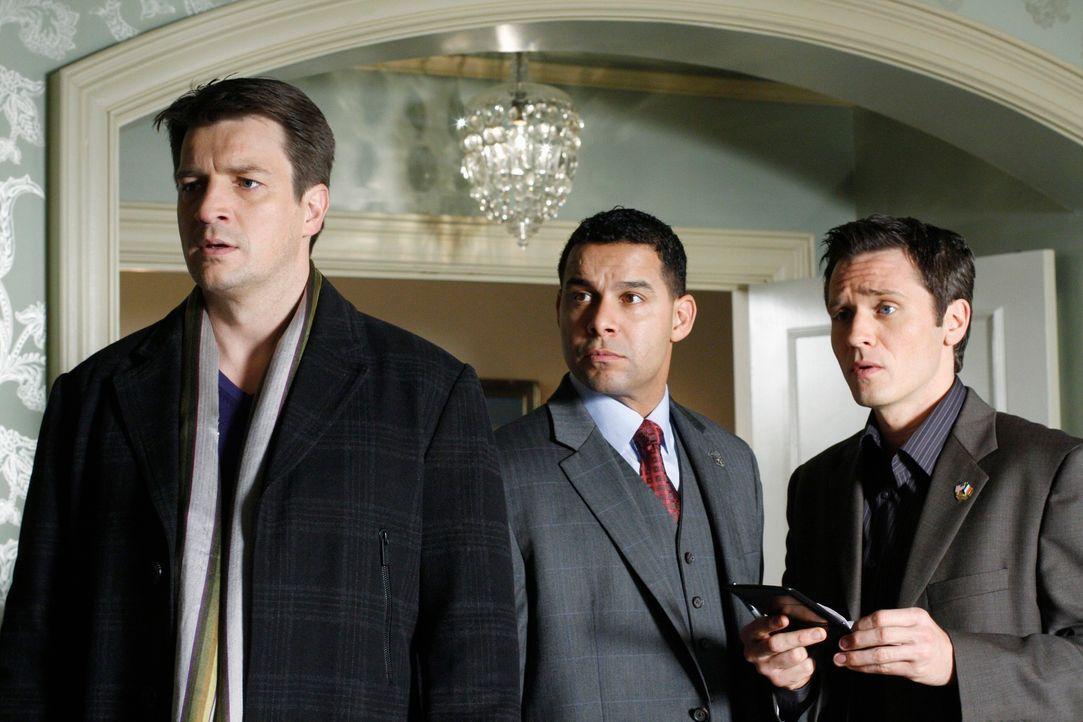 Richard Castle (Nathan Fillion, l.), Javier Esposito (Jon Huertas, M.) und Kevin Ryan (Seamus Dever, r.) arbeiten an einem neuen Fall, der einige Üb... - Bildquelle: ABC Studios