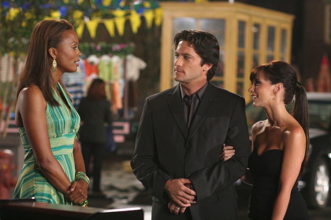 Jims (David Conrad, M.) und Melindas (Jennifer Love Hewitt, r.) Verkupplungsversuch ist gescheitert. Andrea (Aisha Tyler, l.) hat schnell gemerkt, d... - Bildquelle: ABC Studios
