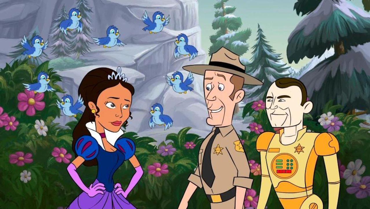 Jo (l.) konnte Jack (M.) und Andy (r.) gerade noch rechtzeitig vor dem Ninja-Schneemann retten ... - Bildquelle: Universal Television