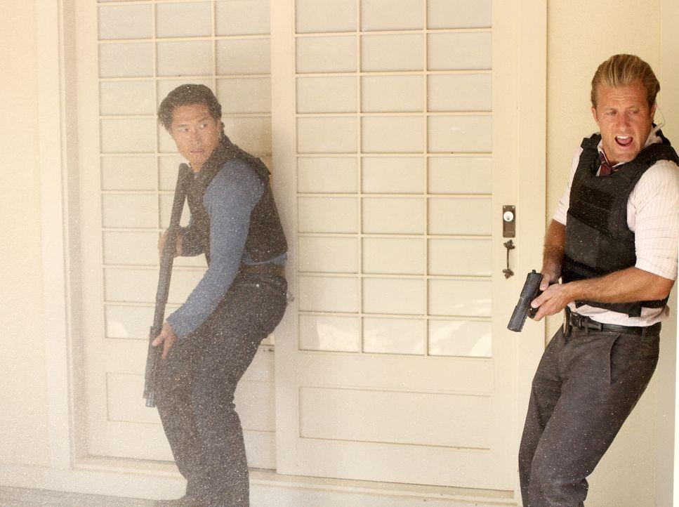 Das Team um Danny (Scott Caan, r.) und Chin (Daniel Dae Kim, l.) stürmt mit Unterstützung des HPD Wo Fats Haus - doch der ist nicht da. Stattdessen... - Bildquelle: 2011 CBS BROADCASTING INC.  All Rights Reserved.